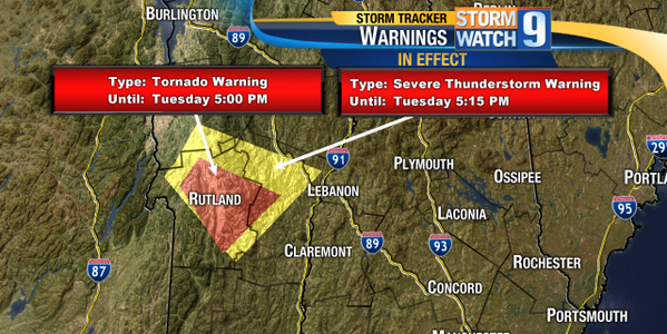 Tornado Warning near Rutland, VT till 5pm